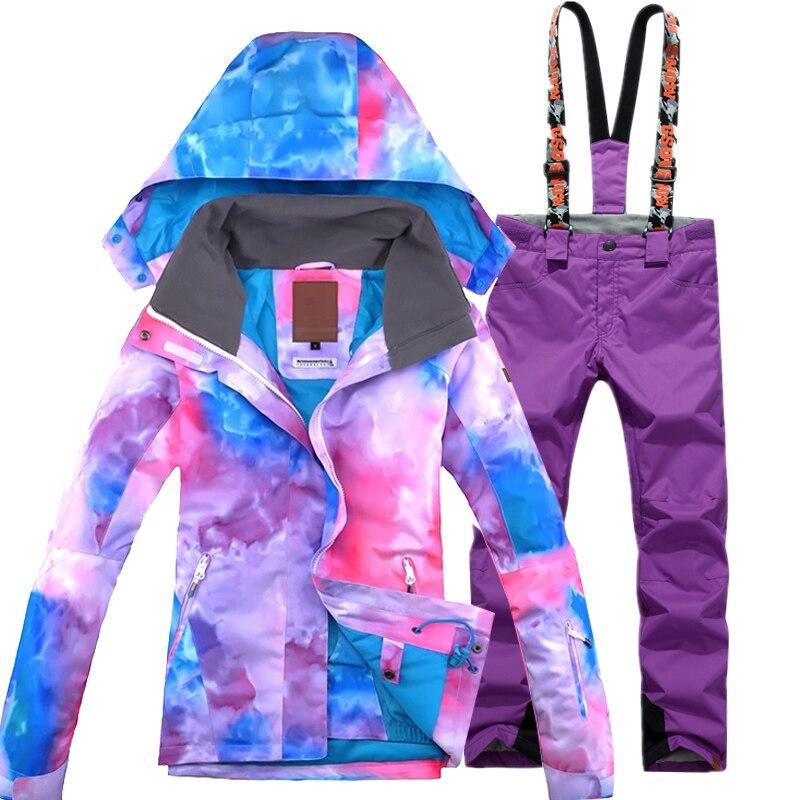 Haute qualité 10 K ski costume gilet planche veste de ski + pantalon de ski vêtements coupe-vent imperméable femmes hiver chaud vestes