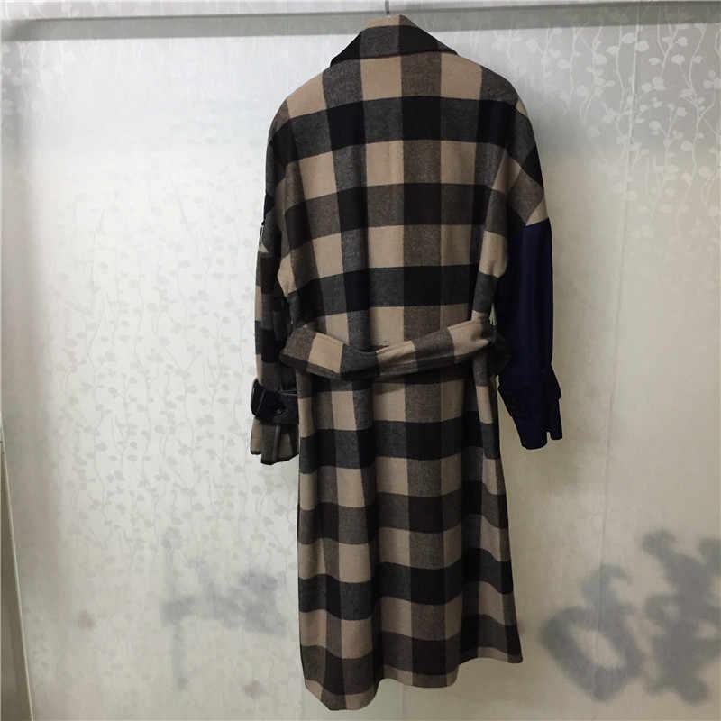 Высокое качество Брендовое пальто женское двубортное модное с круглым вырезом клетчатая верхняя одежда смесовая куртка для женщин