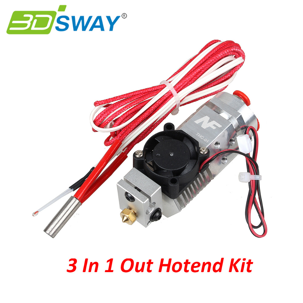 3dsway 3d printer parts all metal 3d chimera 3d cyclops hotend kit dual color extruder multi extrusion for 0 4mm 1 75mm 3DSWAY 3D Printer Parts 3 in 1 out Multi-color Extruder Hotend Kit NF THC-01 Three Colors Switching Hotend Kit for 0.4mm 1.75mm