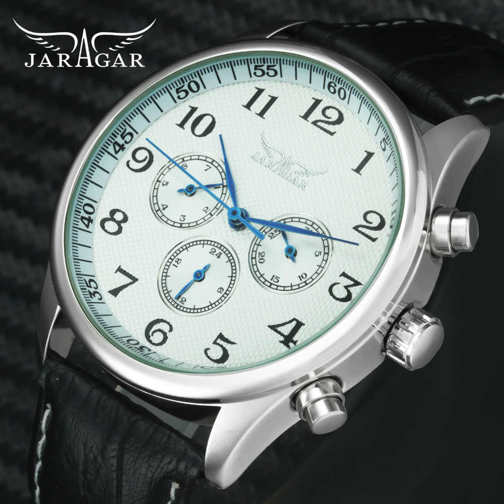 554d233b229 JARAGAR Fashion Business Automatic Mechanical Watch Men 3 Working Sub-dial  Arabic Number Multifunction Watches