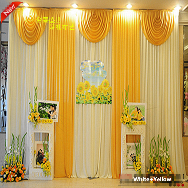 Fashion 3*3m( 10ft*10ft) Wedding Backdrop Curtain with Yellow Swag Wedding Decoration Ice Silk Stage Backdrop CurtainsFashion 3*3m( 10ft*10ft) Wedding Backdrop Curtain with Yellow Swag Wedding Decoration Ice Silk Stage Backdrop Curtains