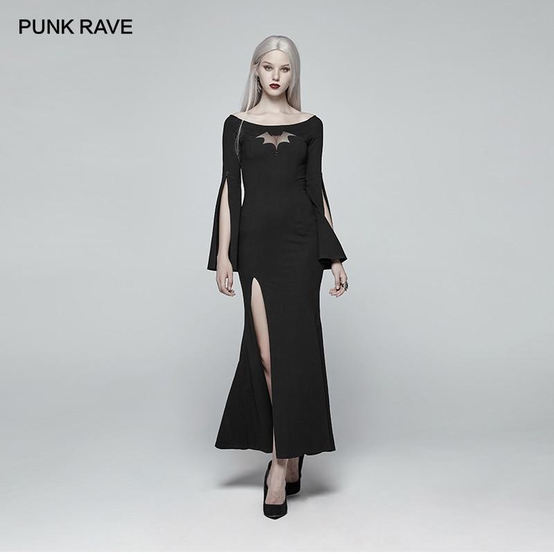 PUNK RAVE Women's Gothic Bat Code Long Prom Personality Black Dress Christmas Halloween Party Club Sexy Dress Women