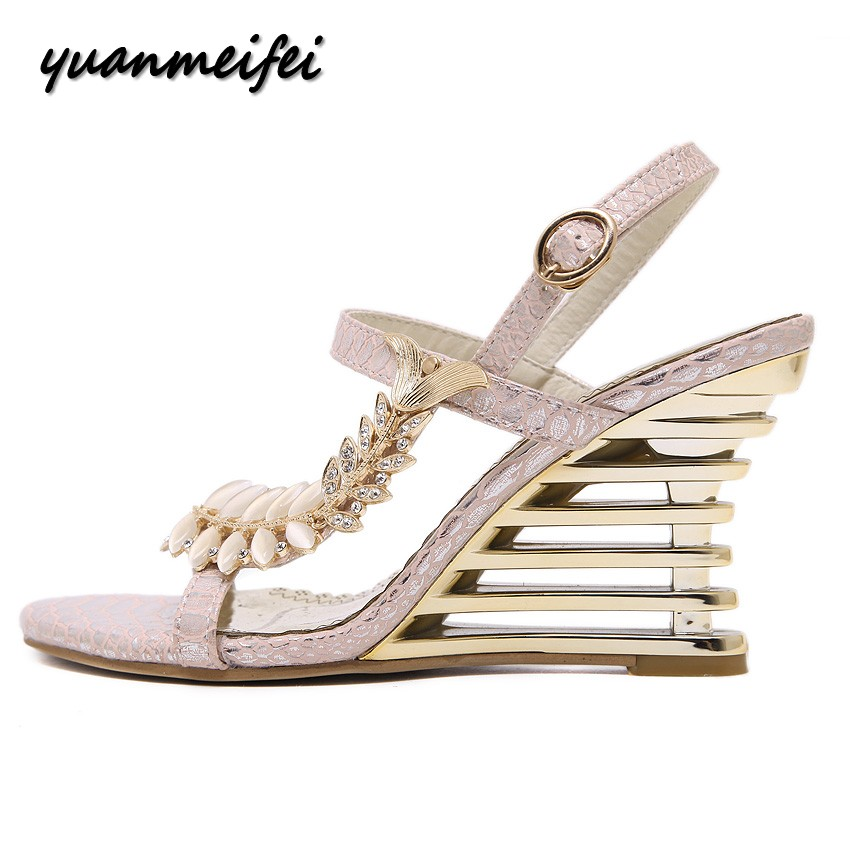 yuanmeifei new summer women sexy peep toe high heels sandals shoes woman fashion party wedding crystal wedges sandals size 35 40