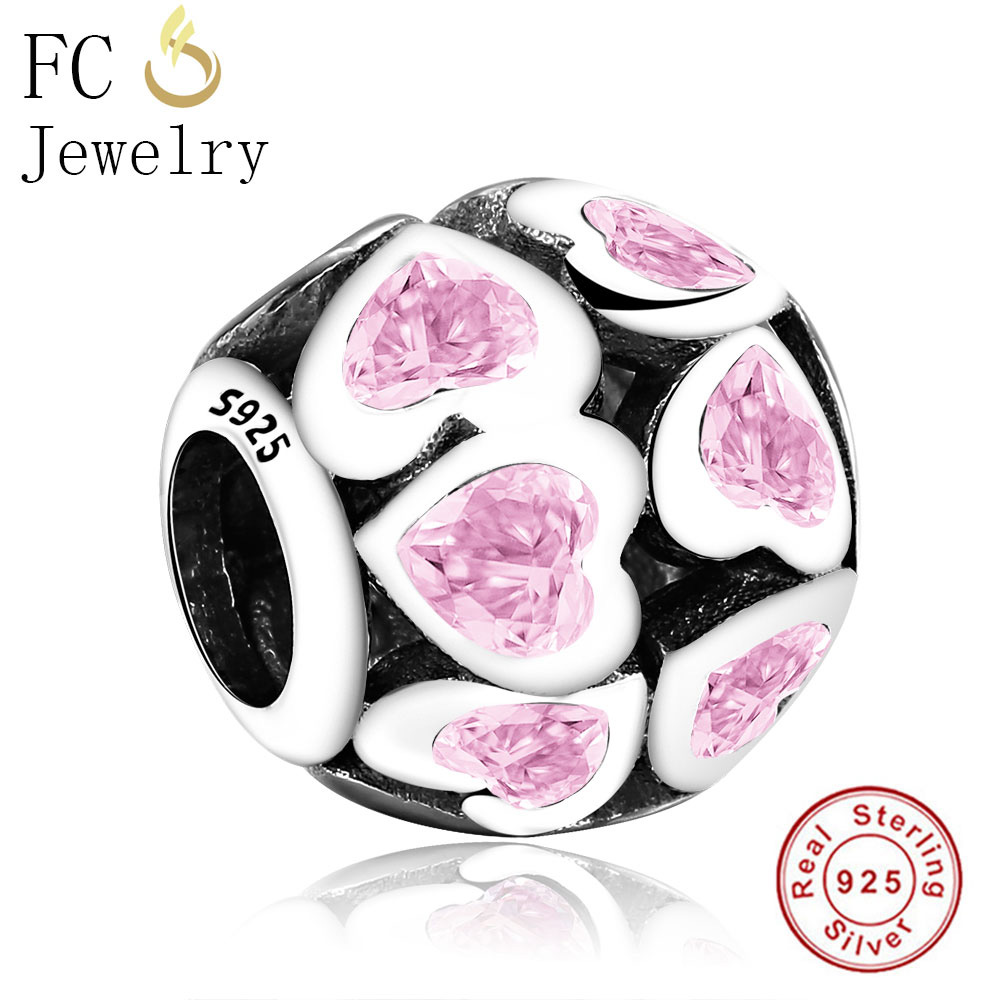 FC Jewelry Fit Original Pandora Charms Bracelets 925 Silver Round Pink CZ Love Hearts Stone Beads for DIY Making Berloque Gifts