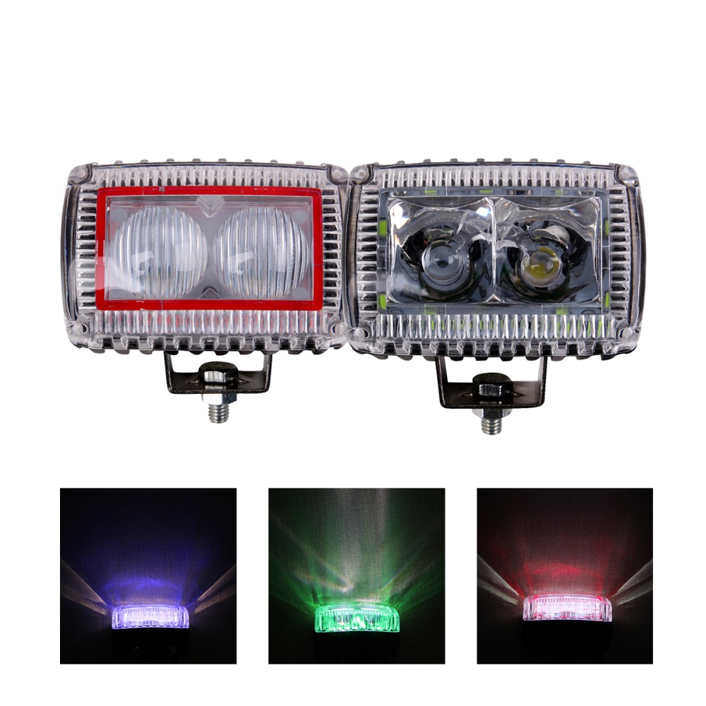 10W CAR LED WORK LIGHT 12V 12V SUV TRUCK TRAILER PICKUP 4X4 MOTORCYCLE 4WD DECORATION INDICATOR SIGNAL RED BLUE GREEN FOG LAMP