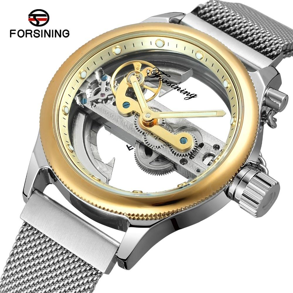 все цены на FORSINING Men's Watches Skeleton Self-winding Luxury Brand Stainless Steel Milanese Bracelet New Design Wrist Watch Automatic онлайн