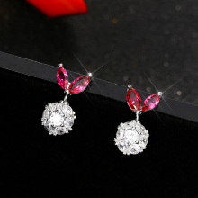 Korean Cute Jewelry Silver Color Fruit Stud Earrings CZ Bridal Wedding