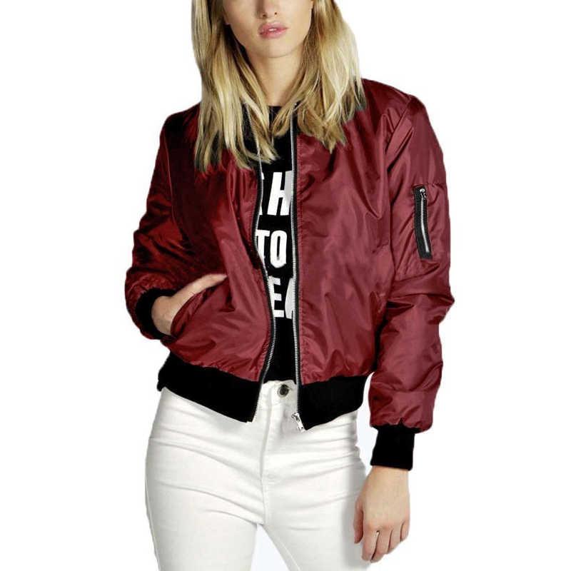 春薄型ジャケット女性 2019 の基本的なソリッドスタンドカラーボンバージャケット女性の秋のカジュアル長袖スリムコート女性の上着