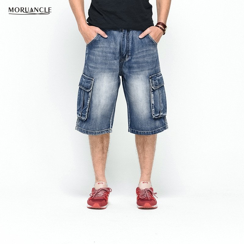 MORUANCLE Plus Size 30-46 Mens Denim Cargo Shorts Multi Pockets Streetwear Baggy Jeans Shorts Skateboard Short Jeans For Male