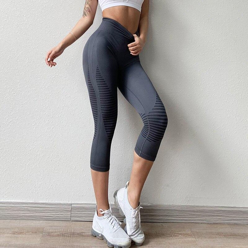 PLAY BOLD Seamless Girls Ombre Workout Pants Gym Running Yoga Sports Capri Leggings /…