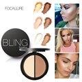 Nova maquiagem blush bronzer highlighter 2 dif cores corretivo bronzer palette comestic maquiagem por focallure
