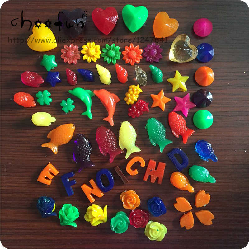 50g/lot Mixed Cartoon Shape Growing Water Balls Color Easy Broken Toy Water Beads орбизы Crystal Soil