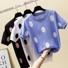 shintimes Polka Dot T Shirt Women Tshirt Knitted Cotton 2019 Summer Casual T-Shirt Korea Clothes Tee Femme Camisetas Mujer