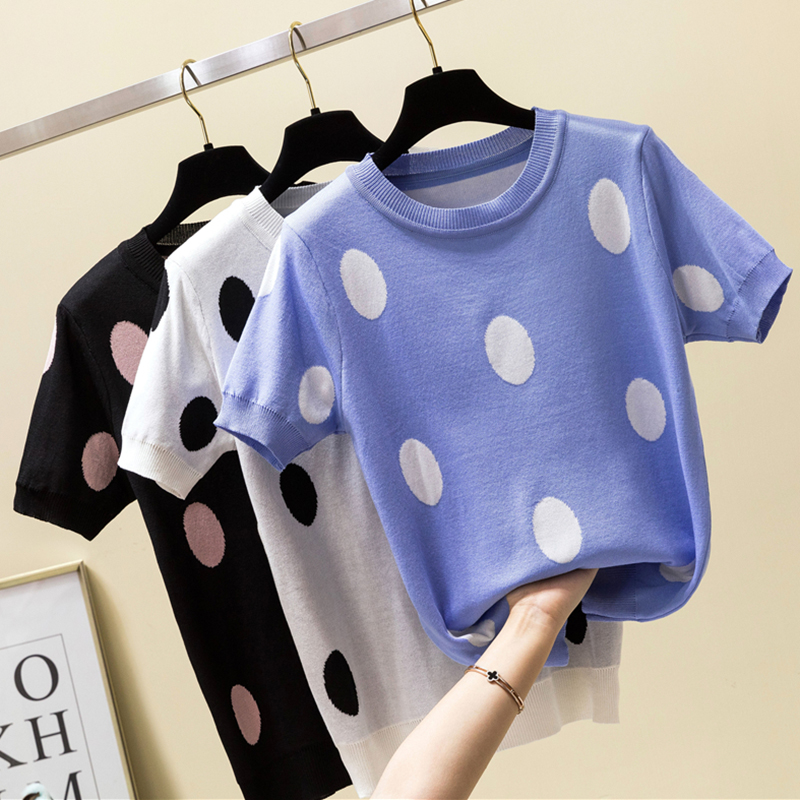 Shintimes Polka Dot T Shirt Women Tshirt Knitted Cotton 2020 Summer Casual T-Shirt Korea Clothes Tee Shirt Femme Camisetas Mujer