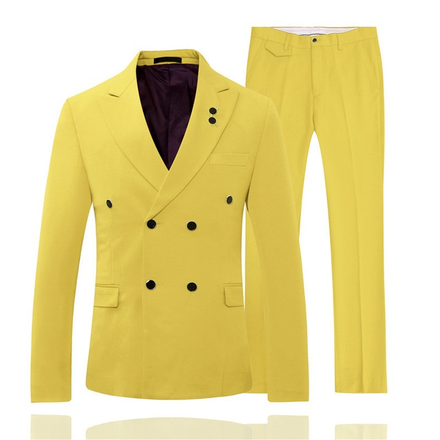 Fashion Yellow Double Breasted Designs Suits Men Wedding Party Business Tuxedo Suits Custom Made 2 Piece Blazer Terno Masculino