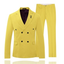 Fashion Yellow Double Breasted Designs Suits Men Wedding Party Business Tuxedo Custom Made 2 Piece Blazer Terno Masculino