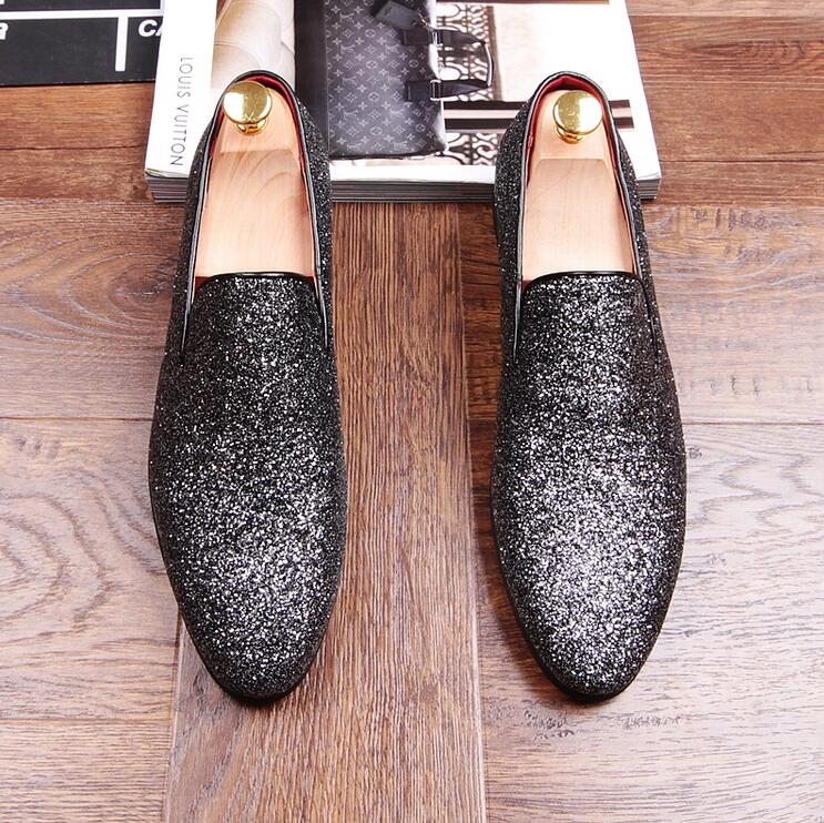 Cuir Superstar Rond Loubuten Glitter Chaussures Paillettes Robe Bout Top Conduite Low En Black Mocassins Appartements Casual Zapatillas silver Hommes S60qwx5x4