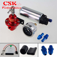 255 LPH EFI Топливный насос/бак + 140 PSI регулятор давления + Масляный манометр комплект черный/синий/красный