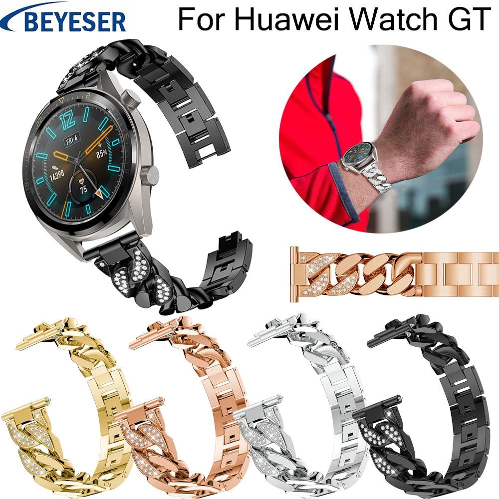 Rhinestone Metal Stainless Steel wrist strap For Huawei watch GT watchstrap for Huawei Watch gt replacement bracelet watchbands thumbnail