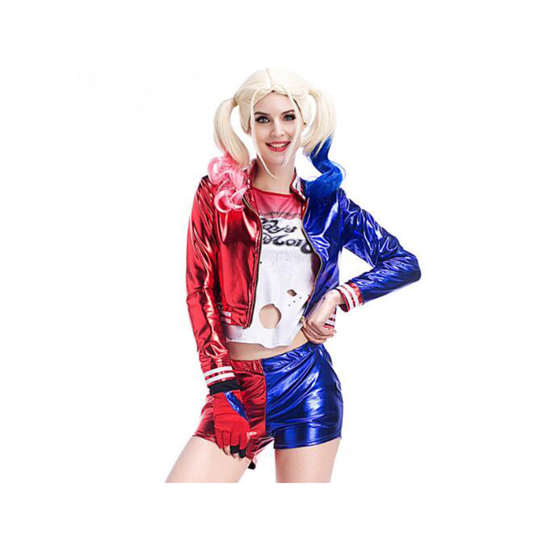 Suicide Squad Harley Quinn Costume Cosplay Full Set Harley Quinn Fancy Outfit Halloween Cosplay Clothing Adult Women XS-XL