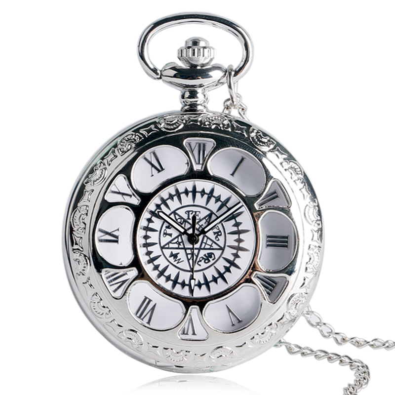 Popular Anime Black Butler Kuroshitsuji Cosplay Sebastian Ciel Luxury Silver Necklace Chain Pocket Watch Unisex Valentine Gifts