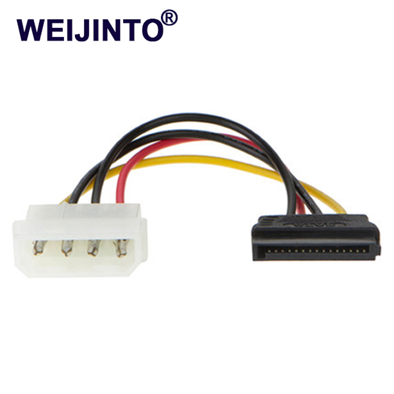 2pcs Lowest price 15 Pin SATA Male to Molex IDE 4 Pin Female Adapter Extension Power Cable for SSD HDD CD ROM best price 5pin cable for outdoor printer