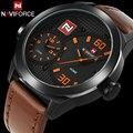 Homens sport watch naviforce marca relógio de quartzo pulseira de couro genuíno relógios de pulso masculino auto data 30 m waterproof relogio masculino