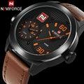 men sport watch NAVIFORCE brand quartz watch genuine leather band wristwatches male auto date 30M waterproof relogio masculino