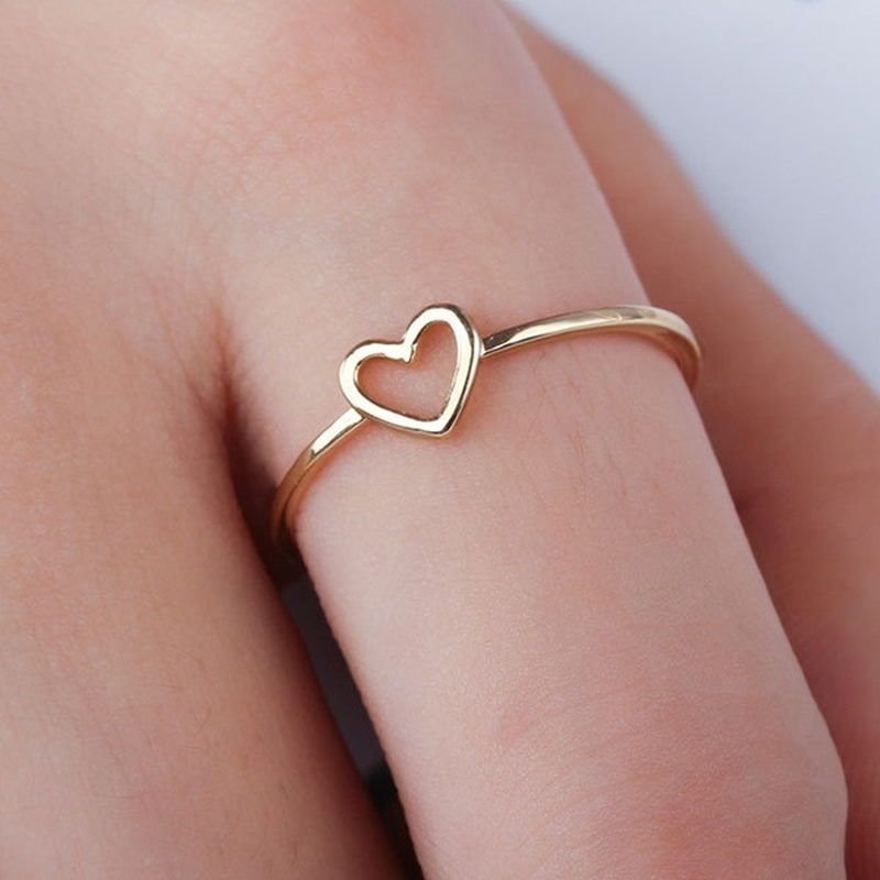 Fashion Best Friends Jewelry Ring Simple Hollow Heart Ring Friendship  Letter Size 5-11