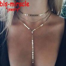Новые модные ювелирные изделия аксессуары золотой цвет несколько слоев лист цепи с кристаллом ожерелье для влюбленных N461