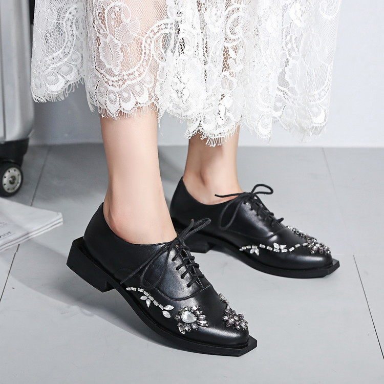ФОТО 34-39Women's Shoes 2016 fall fashion casual shoes beaded lace-up party with real leather shoes