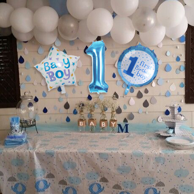 5 Pcs Baby 1 First Birthday Boy Girl Balloons Kids One Year Old Balloon Foil Number Children Party Decor Gift