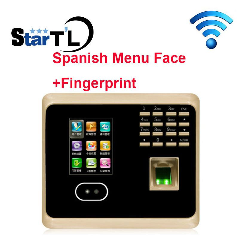 Free Shipping Spanish Menu Face Time Attendance Fingerprint Time Attendance tcp/ip+wifi Biometric Face Time Recording Attendance free shipping fingerprint time attendance time recording time clock with tcp ip usb biometric rfid card time attendance a c081