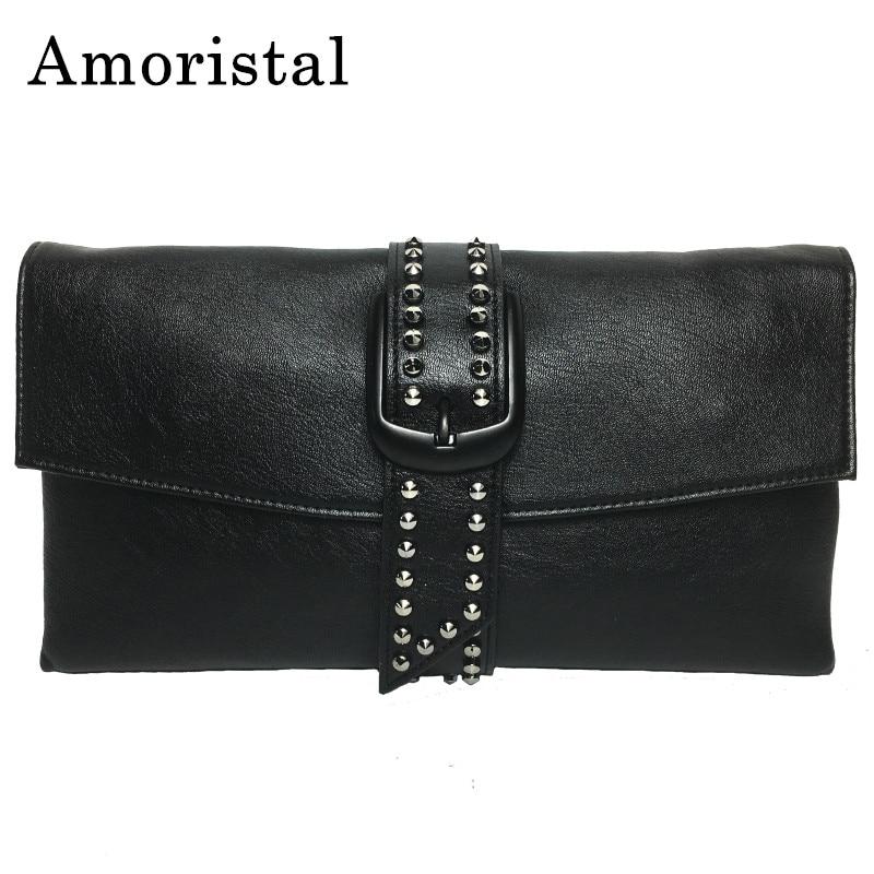Rivet Hand Bag Women Clutch Bags Fashion Casual 2018 New Chain Envelope Bag Shoulder Messenger Bags Female Solid Color B273 все цены