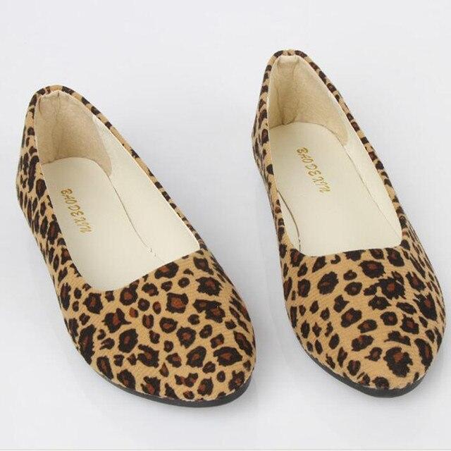 dc6a6b142c25b Fashon New Women Ladies Flat Shoes Leopard Printed Low Heel Beige Brown Women  shoes Size 5/6/6.5/7.5/8.5/9/9.5 Free Shipping