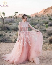 Blush Pink Wedding Dress Backless Sheer Deep V-neck Beads Lace Appliques Tulle Country Sweep Train Low Back Sexy Bridal Gown