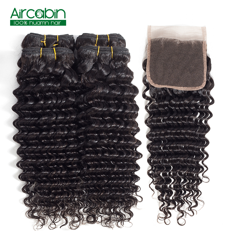 Deep Wave Bundles with Closure Peruvian Hair 4 Bundles with Lace Closure AirCabin Remy Human Hair Weave Extensions