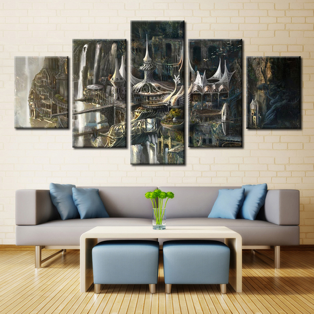 Canvas Printed Poster 5 Panel Lord Of The Rings Castle Wall Decor Movie  Pictures Canvas Painting