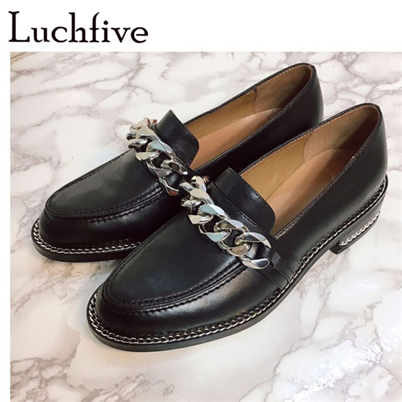 2017 Spring genuine Leather casual shoes women metal Chain decor Flat heel round toe concise loafers shoes women chaussure femme