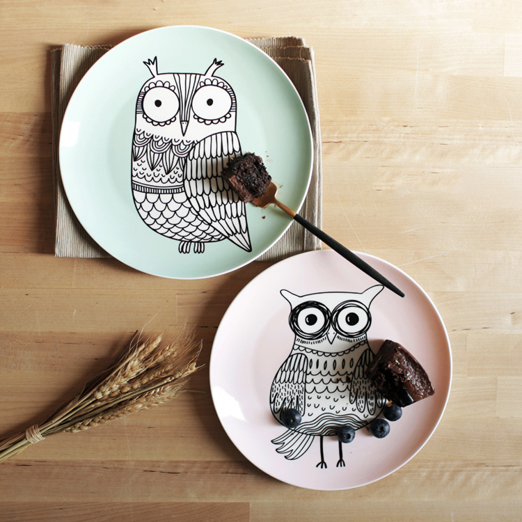8 Inch Bone China Dishes Plates Tableware Cartoon Owl Decorative Plates Kitchen Dining Dish Dinner Fruit Steak Pasta Cake Plate