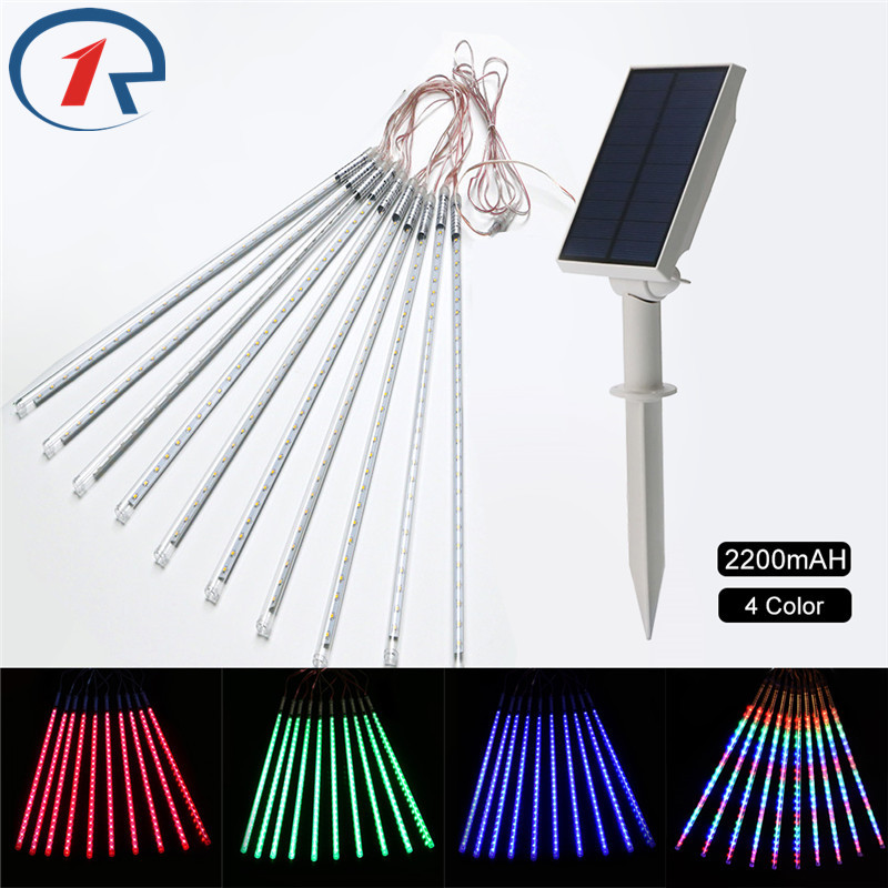 ZjRight 35cm 360LED solar meteor shower rain tubes lights Christmas outdoor landscape trees waterproof decorative String