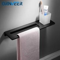Matte Black Bathroom Towel Rack Aluminum alloy wall mount towel Holder towel Shelf Accessories