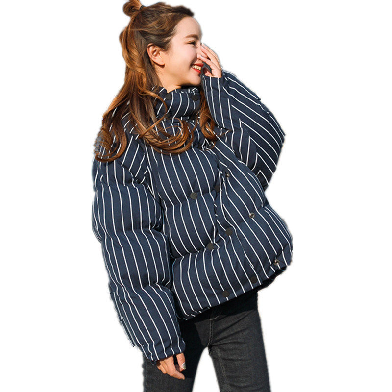 Oversized Short Striped Parka Femme Casual BF Style Thickening Jacket Women Warm Chaquetas Mujer Cotton Padded Coat TT3452 tt tf ths 02b hybrid style black ver convoy asia exclusive
