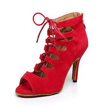 New Wholesale Red Suede Latin Tango Ballroom Dance Shoes Open Toe Ballroom Shoes All Size