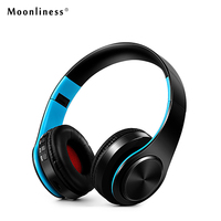 Moonliness HIFI Stereo Earphones Bluetooth Headphone Music Headset Adjustable Audio Mp3 FM Support SD Card With