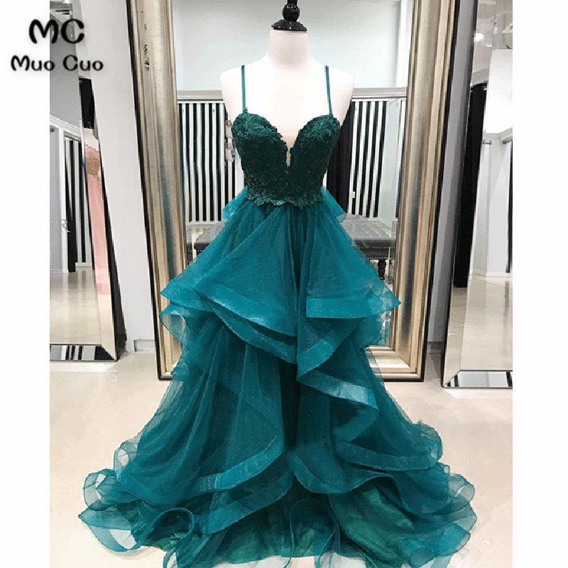 2018 New Teal Ball Gown Evening Dress Long Prom Dresses with Ruffles Spaghetti Straps Organza Formal