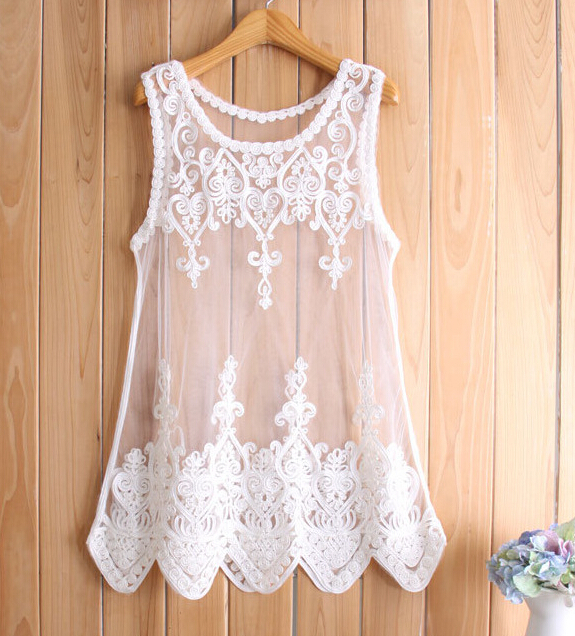 f0a69a9d9d3 Top Quality Lady Crochet Lace Embroidery Flowers Patchwork Blouse Women  White Chiffon Sleeveless Blouse Plus Size LD