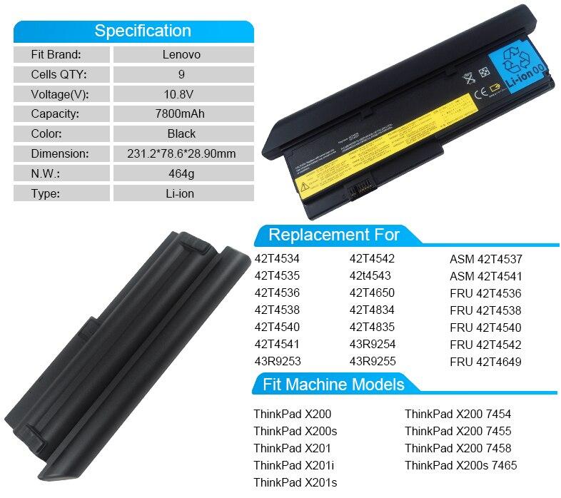 9 CELL Аккумулятор для ноутбука Lenovo Thinkpad X201 X200 7458 43r9254 42t4542 43r9255 FRU 42t4536 42t4538 42t4540