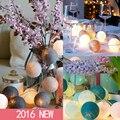 Tailândia 20 Algodão Bola Luzes Cordas Decoração Do Casamento Guirlanda de Natal Luz Interior Iluminação De Fadas Guirlande Plugue Interruptor 220