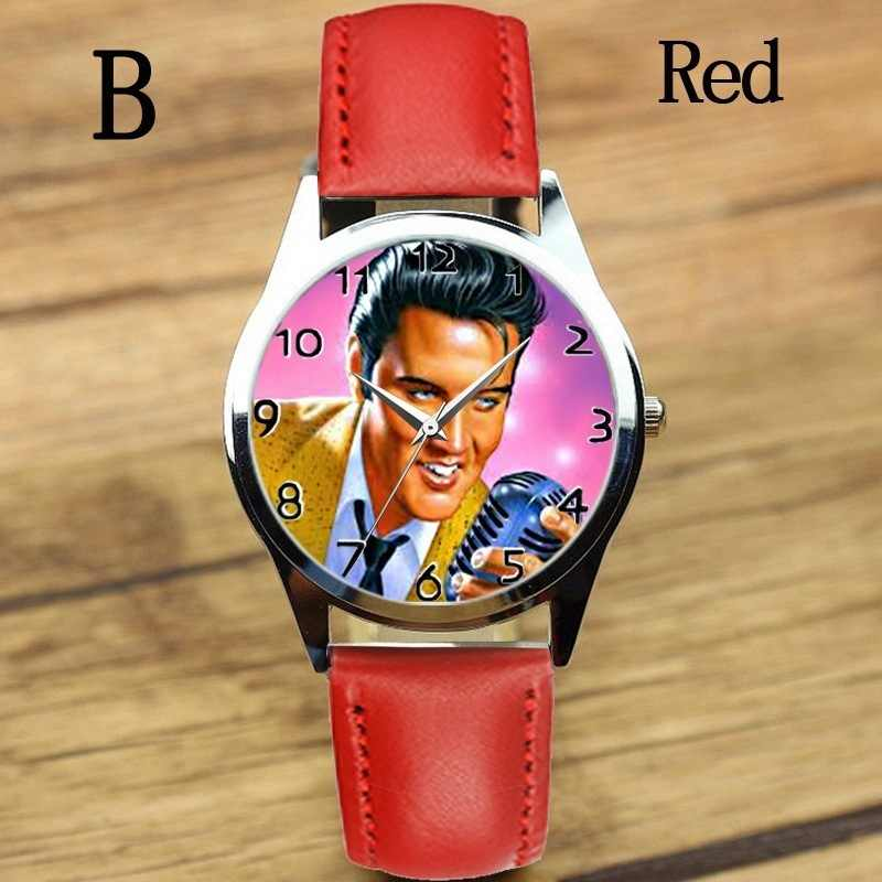 موضة جديدة الفيس بريسلي ساعات نساء رجل ساعة كوارتز أنثى فستان أنيق ساعة حزام ناقل من الفولاذ بنين gilr على مدار الساعة